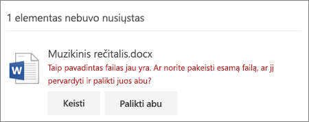 """Klaida """"Failo vardas jau yra"""" """"OneDrive"""" žiniatinklio vartotojo sąsajoje"""