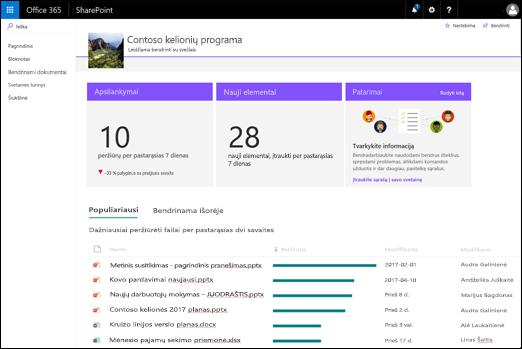 SharePoint svetainės puslapio naudojimo