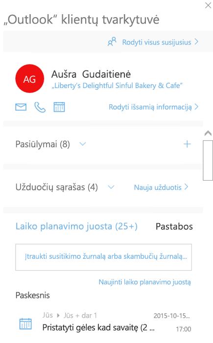"""""""Outlook"""" klientų tvarkytuvės pasveikinimo ekranas"""