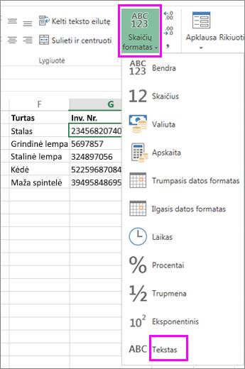 taikyti teksto formatą skaičiams