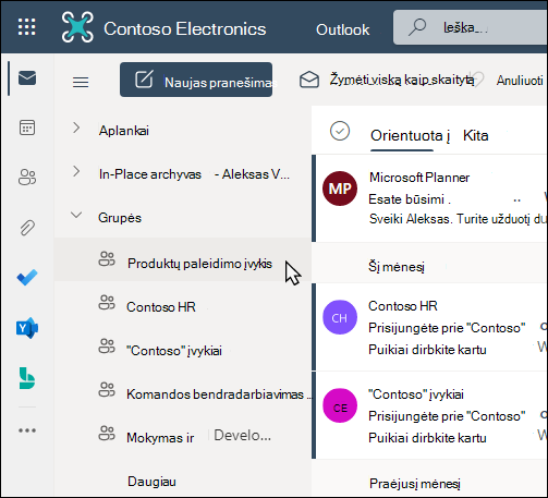 """Office 365"" grupes ""Outlook"""