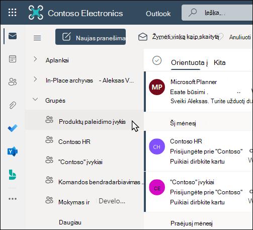"""Office 365"" grupės programoje ""Outlook"""