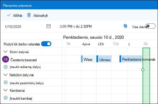 Planavimo pagalbinė priemonė, rodanti sujungtais kalendoriaus įvykiais