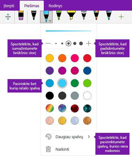 """Rankraščio brūkštelėjimų pločio ir spalvų parinktys programoje """"OneNote"""", """"Windows 10"""""""