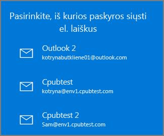 Pasirinkti paskyrą, iš kurios norite siųsti el. laišką