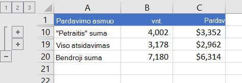 Struktūrinis sąrašas, kuriame rodomos tik sumų eilutės