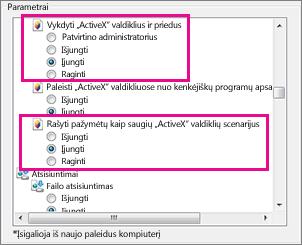 """Leidimas įkelti ir paleisti """"ActiveX"""" valdiklius """"Internet Explorer"""""""