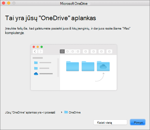 """Vediklio """"Sveiki! Čia """"OneDrive"""" puslapio """"Tai yra jūsų """"OneDrive"""" aplankas"""" """"Mac"""" kompiuteryje ekrano nuotrauka"""