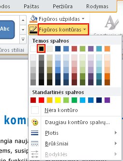 To change the outline color, on the Format tab, in the Shape Styles group, use Shape Outline.