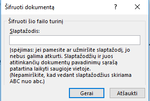 Dokumento šifravimo dialogo langas