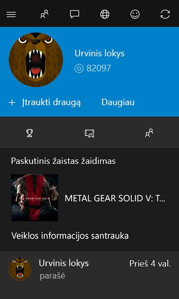 """Žaidėjo slapyvardžio profilis """"Xbox"""""""