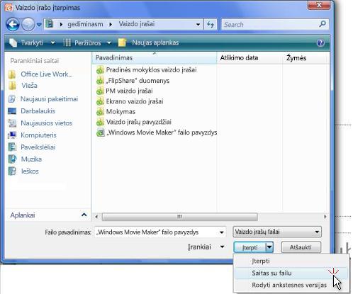 Susieti su vaizdo įrašo failu