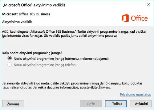 """Rodomas aktyvinimo vediklis, skirtas """"Office 365"""" verslui"""
