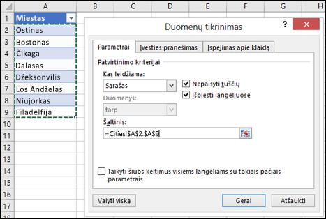 Duomenų tikrinimo šaltinio pasirinkimas