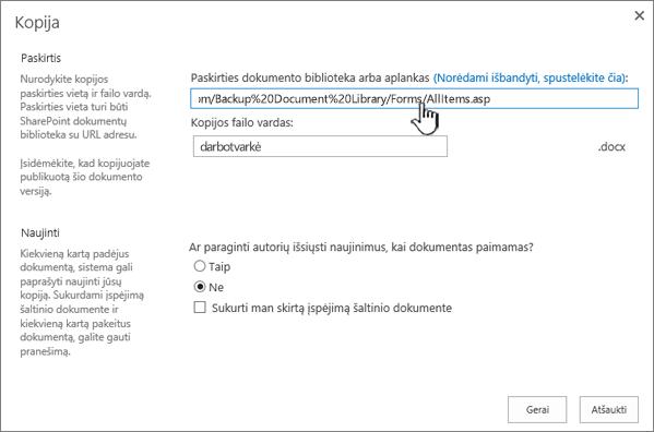 Kopijuoti dialogo langas, kuriame pažymėtas URL.