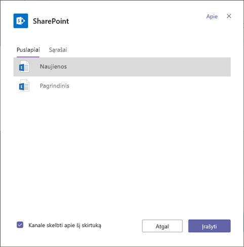 SharePoint skirtukų puslapius