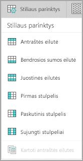 """""""Windows Mobile"""" lentelės stiliaus parinktys"""