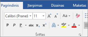 """Programos """"Word"""" skirtuke Pagrindinis, grupėje Šriftas, pasirinkite šriftą ir šrifto dydį."""