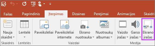 """Rodo įterpti ekrano įrašymo mygtuką """"PowerPoint 2016"""""""