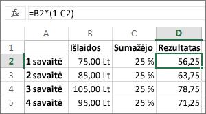 Pavyzdys, kaip sumažinti sumą procentais