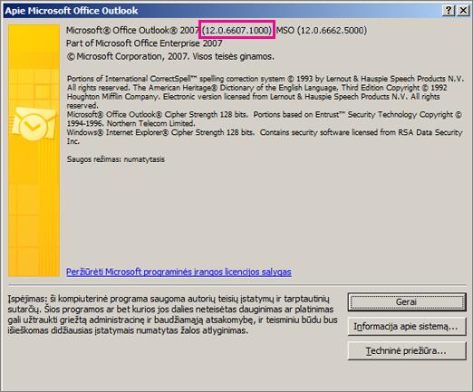 """Nuotraukoje rodoma, kurioje dialogo lango Apie """"Microsoft Office Outlook"""" vietoje pateikiamas """"Outlook 2007"""" versijos numeris."""