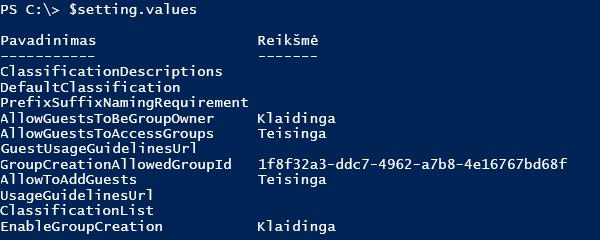 Ekrano nuotrauka dabartinės konfigūracijos reikšmių sąrašas