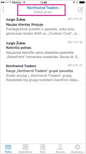 """""""Outlook"""" mobiliųjų įrenginių pokalbio rodinys su paryškintu antraštė"""