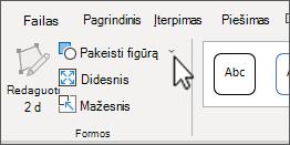 """Mygtuką Keisti figūrą """"SmartArt"""" Įrankiai skirtuke formatas"""