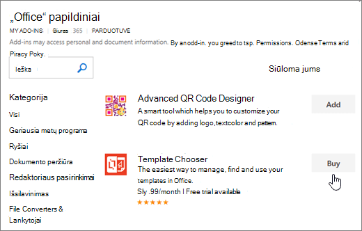 """Papildiniai puslapį, kuriame galite pasirinkti arba ieškoti priedą """"Word"""" skirtos ekrano nuotrauka"""