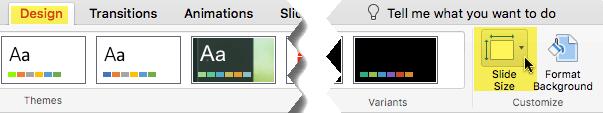Mygtukas skaidrių dydis yra dešiniajame gale įrankių skirtuko Dizainas
