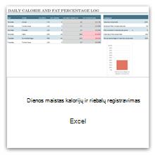 Pasirinkite, kad gautumėte dienos patiekalų kalorijų skaičiaus ir riebalų kiekio žurnalo šablonus.