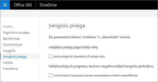 """""""OneDrive"""" administravimo centro skirtuką įrenginio prieiga"""
