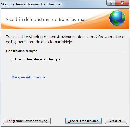 """Rodomas """"PowerPoint 2010"""" dialogo langas Skaidrių demonstravimo transliavimas."""