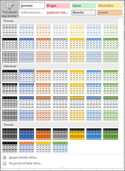 """""""Excel"""" lentelių stilių galerija"""