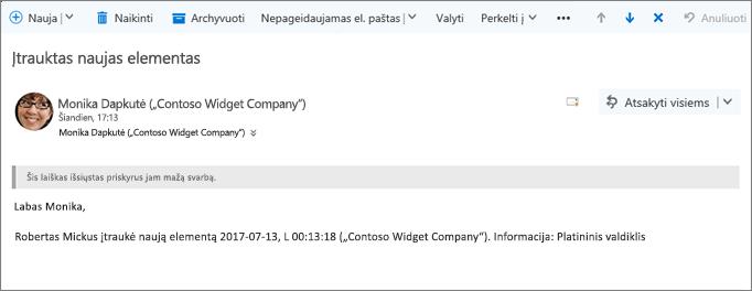 """Siųsti iš """"Microsoft"""" Flow, kai elementas pakeistas"""