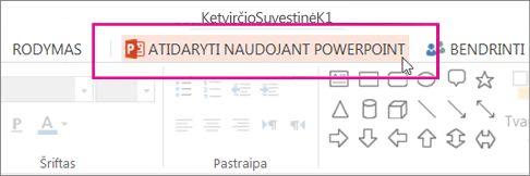 """Atidarymas naudojant kompiuterio """"PowerPoint"""""""