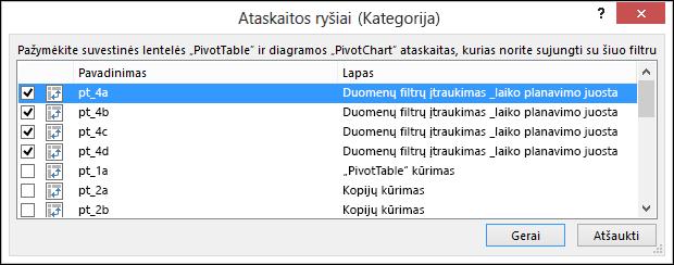 Duomenų filtro ataskaitos ryšį iš duomenų filtro įrankiai > parinktys