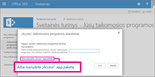 Uploading an Access app package to the Add an app page on a SharePoint site