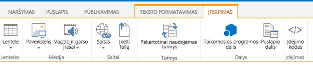 Skirtuko Įterpimas, kuriame yra lentelių, vaizdo įrašų, grafinių elementų mygtukai ir saitai į jūsų svetainės puslapius, ekrano nuotrauka