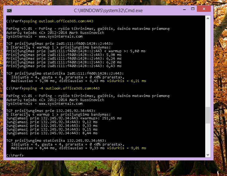 Raskite savo IP naudodami PSPing komandų eilutėje kliento kompiuteryje.