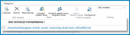 BDC modelių rodinio juostelės SPO BCS grafinis elementas.