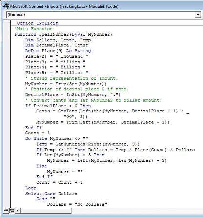 Kodas, įklijuotas į Module1 (kodas) lauką.