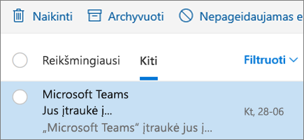 """Pranešimų archyvavimas internetinėje """"Outlook"""""""