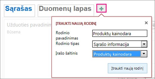 Užklausos duomenų lapo rodinio įtraukimas į šaltinio lentelę.