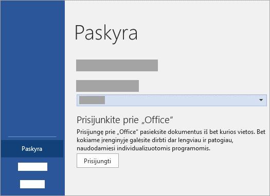 """Prisijunkite naudodami savo """"Microsoft"""" paskyrą arba """"Office 365"""" darbo arba mokymo įstaigos paskyrą."""