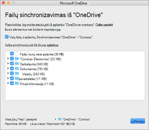 """""""OneDrive"""" sąrankos meniu, kuriame galite pasirinkti, kuriuos aplankus arba failus sinchronizuoti, ekrano nuotrauka."""