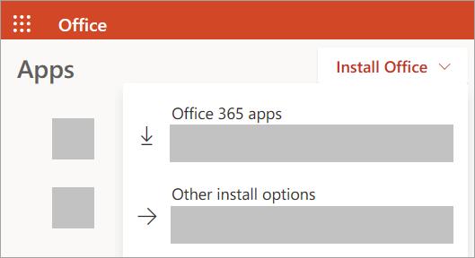 Ekrano kopija, kurioje rodoma svetainė Office.com prisijungus naudojant darbo arba mokymo įstaigos paskyrą
