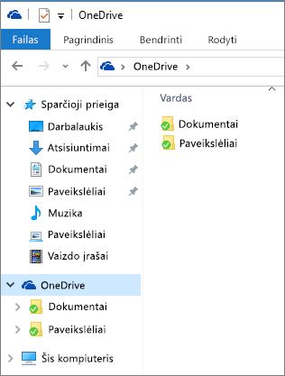 """OneDrive"" failų naršyklėje"