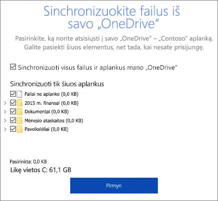"""Sinchronizavimo failų iš jūsų """"OneDrive"""" dialogo lango ekrano nuotrauka"""