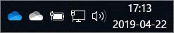 """""""OneDrive"""" sinchronizavimo klientas su mėlyno debesies ir balto debesies piktogramomis"""